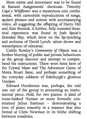 Section of review in Tempo April 2018